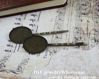 100pcs Antique Bronze Hair Clips Barrette with  18x25mm 13*18MM  Setting, Barrette Setting
