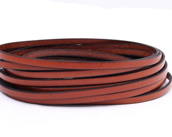 Flat leather strap light brown (black Edge), 5 mm 2 | High-quality calf leather 1 m / 2 m - FL00205