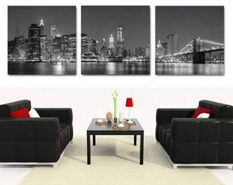 NYC Skyline/Manhattan at Night/Brooklyn Bridge Black & white ready to hang wall art print mounted on fiberboard canvas/betterthan stretched