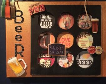 I love beer, beer art, beer wall decor, beer collage, man cave decor, man cave, beer wall hanging, beer gift, beer, gift for beer lover,