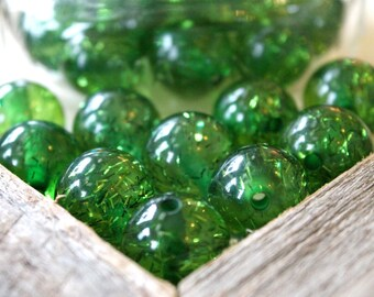 Green Glitter Beads 20mm, Wholesale St Patricks Day Holiday Beads, Sparkle Beads, Resin Bubblegum Gumball Beads, Chunky Necklace Supply