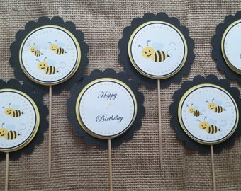 Buzzing bees birthday cupcake toppers set of 20