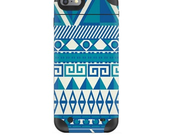 Skin Decal Wrap for Mophie H2Pro iPhone 6/6+ LG G4 Air iPhone 6  5 iPhone 4 Galaxy S6 Edge S7 Edge Vinyl Cover Skins Blue Aztec