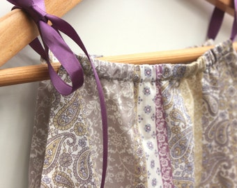 SALE Pillowcase girl's dress cotton voile purple paisley floral Size 2 years