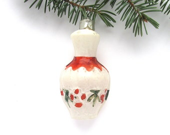 Soviet Christmas tree decoration, White jug, Christmas glass ornament, Russian New Year, USSR, Soviet Union, 1970s