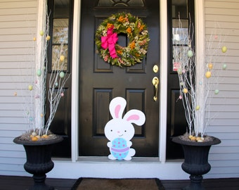 Easter Bunny with Egg Outdoor Wood Lawn Decoration