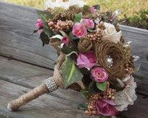 Burlap and Lace wedding Bouquet with pearls rhinestones and pink roses with matching grooms boutonniere would fit almost any wedding style