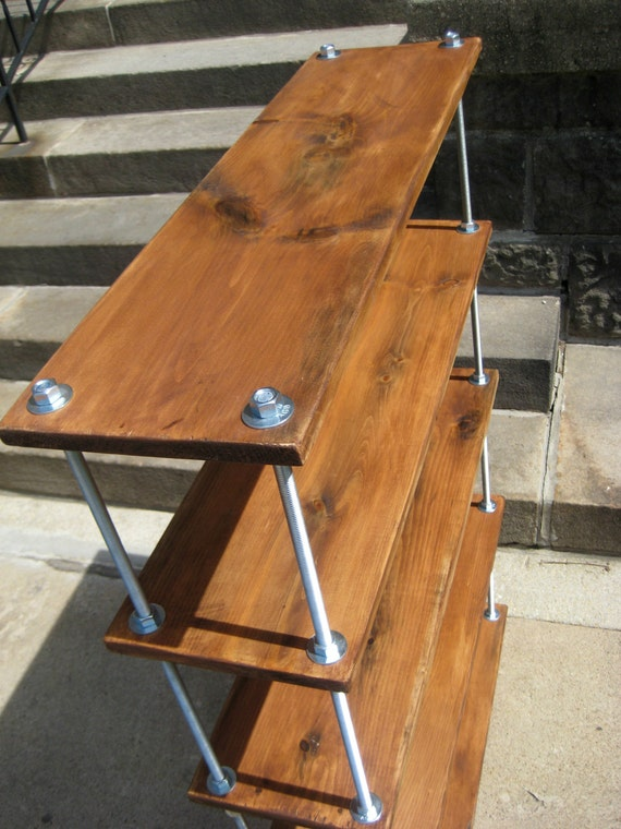 Items Similar To Reclaimed Wood Shelves, Rustic Industrial Bookcase With  Threaded Metal Rods On Etsy