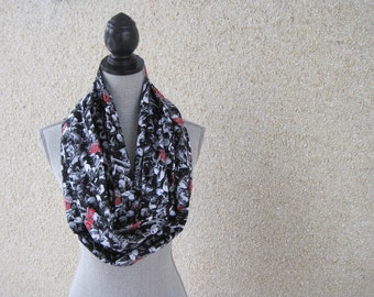 Infinity scarf, tube scarf, eternity scarf, loop scarf, Walking Dead, black scarf, fabric scarf, Walking Dead scarf, Zombies