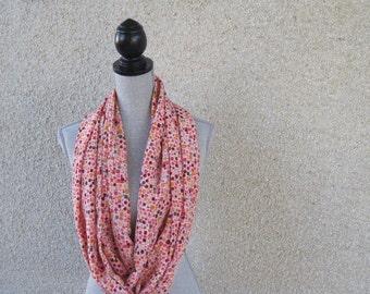 Fabric scarf, Infinity scarf, tube scarf, eternity scarf, loop scarf, long scarf, silk scarf, coral, peach, spring scarf