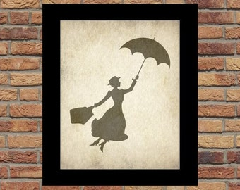 Mary Poppins, Mary Poppins silhouette, Mary Poppins Vintage room Wall Art prints 8x10, Mary Poppins INSTANT DOWNLOAD