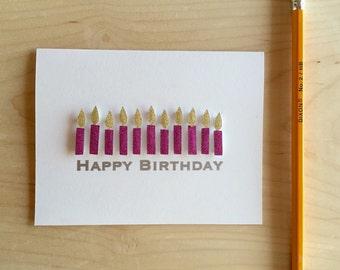 Candle Happy Birthday Card, Glitter Birthday Card
