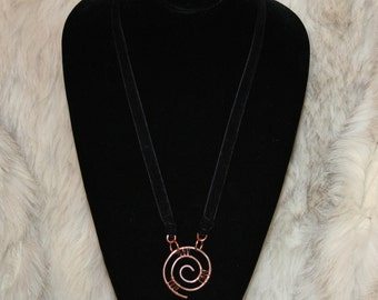 Hammered and Soldered Copper Spiral Necklace