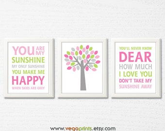 Pink, green and grey baby girl nursery art print - UNFRAMED - baby girl wall art, tree, you are my sunshine, girl wall decor, typography