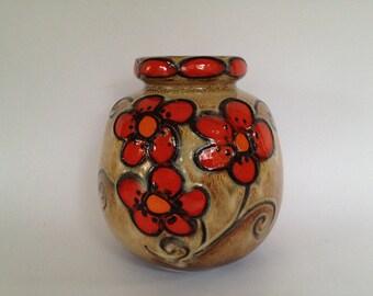 "Scheurich  284 - 19  ,,Flower Power"" Ball vase,  Vintage 1970s vase West Germany. WGP vase."
