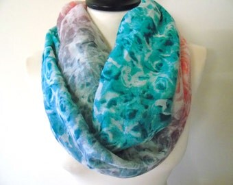 Rose Infinity Scarf, Rose Scarf, Floral Infinity Scarves, Floral Scarf, Summer Scarf, Infinity Loop Scarf, Infinity Scarf Woman