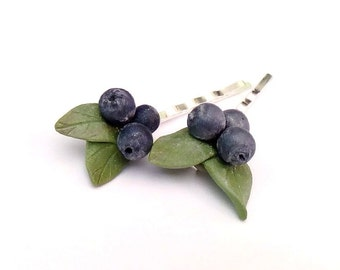 Blueberry Bobby Pins, Blue, Jewellery, Rustic Wedding, berries, For her,  Wedding Hair  pin, Set of 2