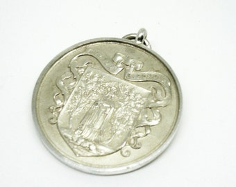 Solid Silver Writing Medal, Sterling, Calligraphy, McDougall Medal, Medallion, Award, 1935-36, REF:246E