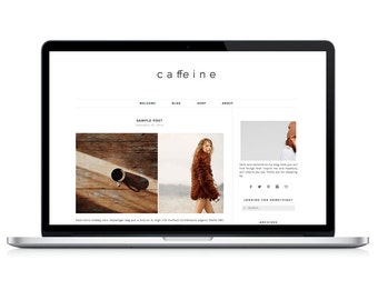 Wordpress Theme - Caffeine - Responsive Wordpress Blog Design - Wordpress Template - Wordpress Theme Feminime - Wordpress Theme Modern