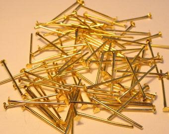 100 Headpins Gold Plated 0.7 x 18mm - FD1241