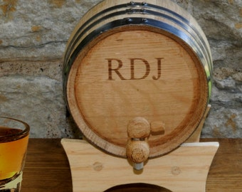 2 Liter Oak Whiskey Barrel, Groomsman Gift, Fathers Day Gift, Man Cave, Home Decor