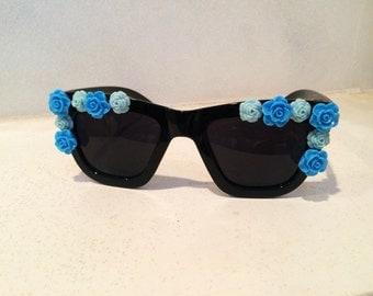 Blue Flowers Sunglasses
