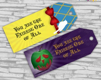 Instant Download - Choose-A-Side Evil Queen AND Snow White Inspired Birthday FAVOR TAGS - Instant Download
