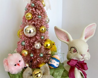 Easter Bottle Brush Tree in a Vintage Planter Cart with a Bunny and Chicks