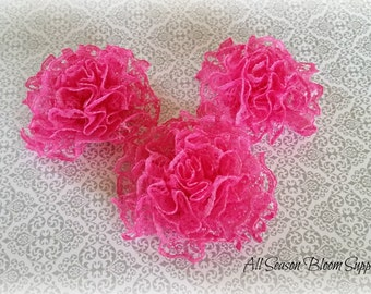"Mini Lace Flower,Hot Pink, Fabric Flower, Satin flower, 2.5"" Lace Flower, DIY"