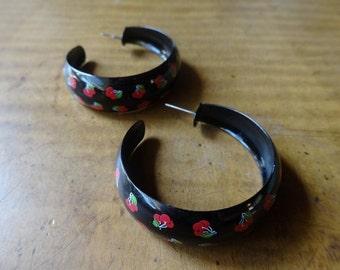 big black hoop earrings red cherry print metal earrings pin up vegas retro mod rocker vegas