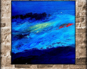 Original Abstract Oil Painting-Large Abstract Painting-Original Abstract Blue-Abstract Blue Painting-Energy Blue Canvas
