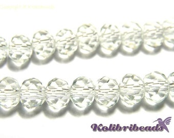 Faceted Glass Briolette Beads, Rondelle Beads 6mm - Crystal