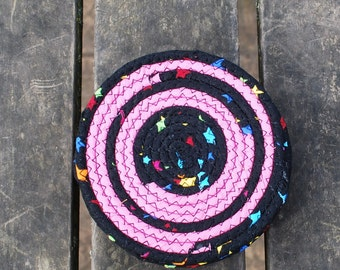 Pink and Black Fabric Coiled Coasters/ set of 6