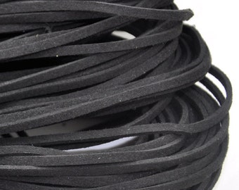 10 meters of  black Faux Leather Ribbon Cords String--- 2.5mm---S0226