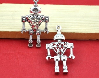 25x46mm--5pcs--Antique Silver Filigree Space Robot Charm Pendants,Hanging Charm,DIY Accessory Jewelry Making------G1582