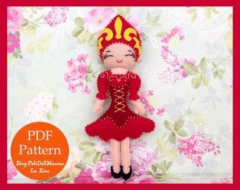 Russian Kokoshnik Doll. Felt Doll. PDF Pattern & Tutorial. Dolls of the World.