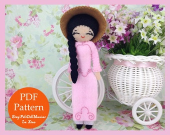 Vietnamese Ao Dai Doll. Miss Viet. Felt Doll. PDF Pattern. PDF Tutorial. Dolls of the world.