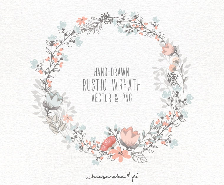 Flowers free wreath vector vector free vector download in ai eps - Floral Wreath Hand Drawn Floral Wreath Clipart Wedding