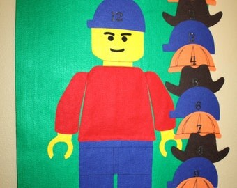 Lego Inspired Reusable Felt Pin the Hat on Lego Guy Party Game