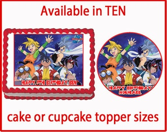Beyblade party on etsy a global handmade and vintage for Anime beyblade cake topper decoration set