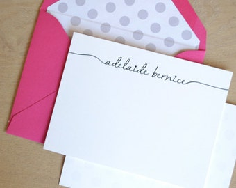 Modern Personalized Stationery with Lined Envelopes - set of 12