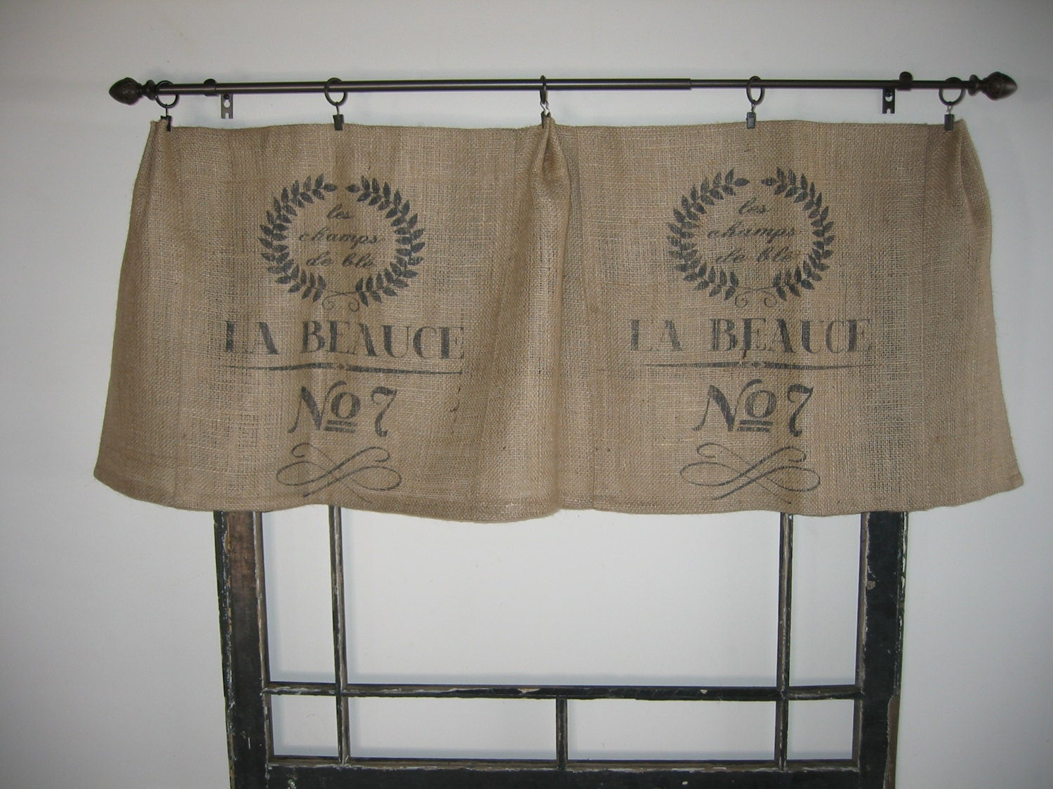 french feed grain sack bag burlap valance curtain panel