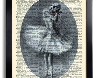 Ballerina Ballet Dancer Girl Repurposed Book Upcycled Dictionary Antique Vintage Book Print Recycled Art Print Dictionary Page Collage 407