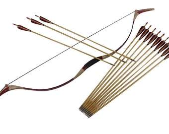 45/50# Hunting Bow and Arrows Set Chinese Traditional Handmade Recurve bows Longbow Archery Package