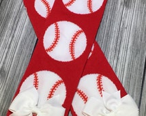 Baseball Leg Warmers with White Bow! Infant to Toddler! Baby Girl, easter Basket Idea, Ready to ship. Spring couture