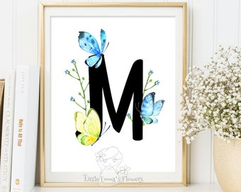 Baby monogram gifts, watercolor print, personalized gift, kids wall art, nursery poster, wall art for nursery, unique baby gift, wall letter