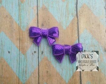 2 Mini Purple Sequin Applique Bows- Going Out Of Business- Wholesale/1.5 inches/Ready to ship