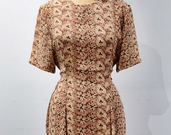 1940s style Rayon Floral Day Dress. 80s does 40s