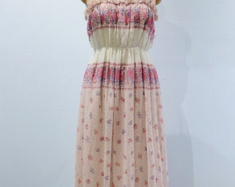1970s Periwinkle & Pink Ruched Tank Maxi Dress