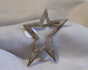 Unique Vintage Sterling Silver Star Pin